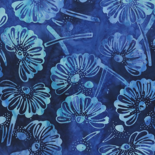 MARIGOLDS IN BLUES ON ROYAL BLUE MARBLED FABRIC - 300Q-1-Fantasy
