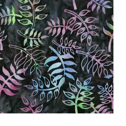 MULTI-COLORED 'SPINNING LEAVES' ON BRANCHES ON CHARCOAL BLACK MARBLED FABRIC - 305Q-2-Imagine