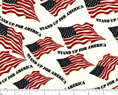 "STAND UP FOR AMERICA WITH FLAGS ON WHITE 108"" WIDE BACKING - CD-17000-002"