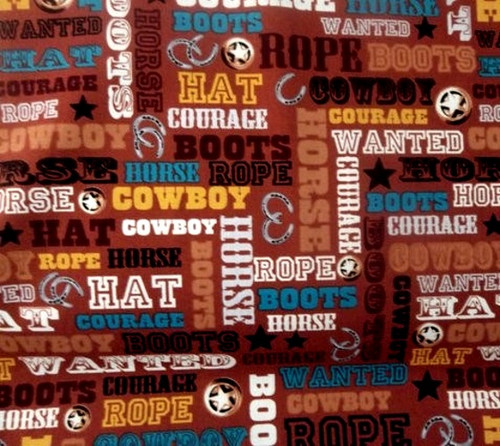 ASSORTED COLOR WESTERN COWBOY WORDS ON BROWN FABRIC - C4884-Brown