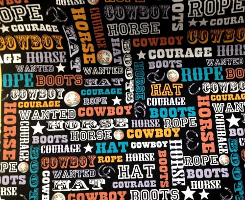 ASSORTED COLOR WESTERN COWBOY WORDS ON BLACK FABRIC - C4884-Black
