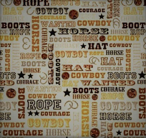 ASSORTED COLOR WESTERN COWBOY WORDS ON WHITE FABRIC - C4884-Tan