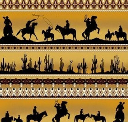 SUNDOWN WESTERN SILHOUETTES BORDER STRIPE IN BLACK AND GOLD AND WHITE FABRIC - C4881-Gold