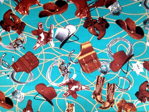 BROWN, GRAY AND TAN HATS, ROPES, SADDLES, ETC ON A TURQUOISE BACKGROUND FABRIC - C4883-Turquoise
