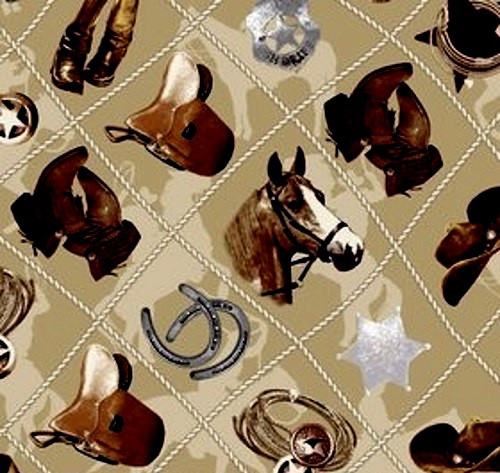 BROWN, GRAY AND TAN COWBOY STUFF ON A TAN SILHOUETTED BACKGROUND FABRIC - C4880-Tan