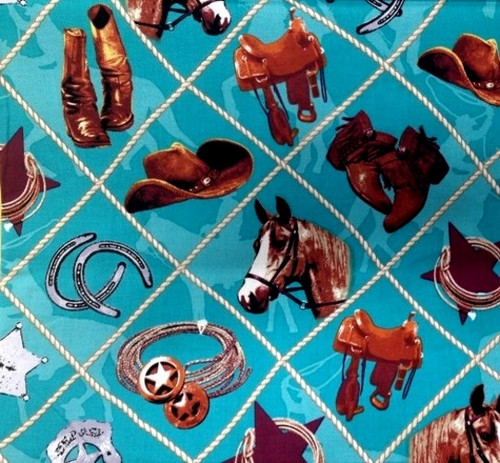BROWN, GRAY AND TAN COWBOY STUFF ON A TURQUOISE SILHOUETTED BACKGROUND FABRIC - C4880-Turquoise