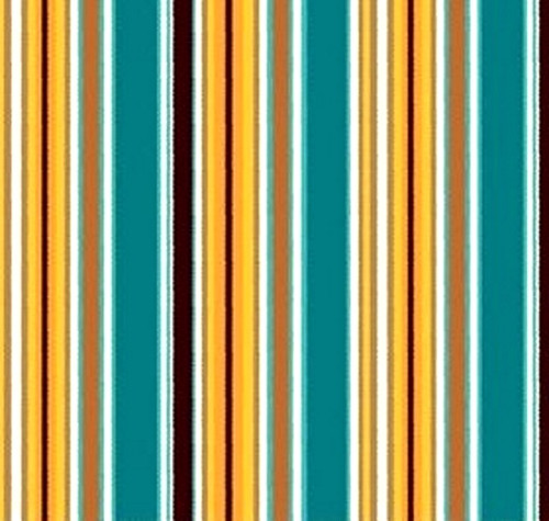 YELLOW, BROWN TURQUOISE AND WHITE STRIPES FABRIC - C4882-Turquoise