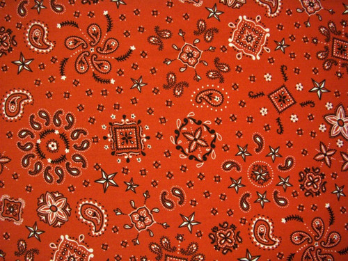 BLACK AND WHITE ON RED BANDANA FABRIC - 9812-88 - American Dreams