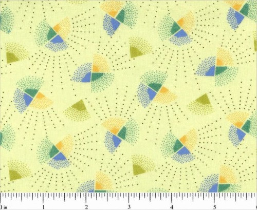 BLUE, GREEN AND YELLOW FANS ON OFF WHITE FABRIC - R57-2284-0114 - Mostly Manor