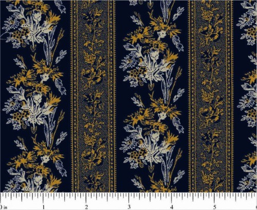 CHEDDAR YELLOW AND WHITE BORDER STRIPE ON NAVY BLUE FABRIC - R22-1914-0110