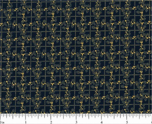 TAN AND WHITE DESIGNS IN SQUARES ON NAVY BLUE FABRIC - R22-1912-0110