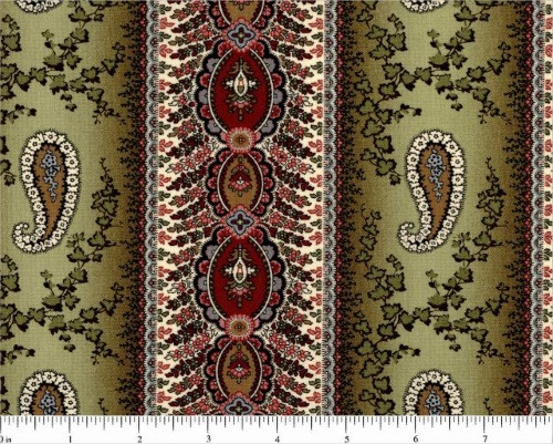 SAGE GREEN, TAN, RED AND WHITE BORDER STRIPE FABRIC - R33-2829-0116