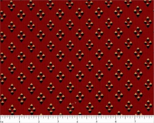 BLACK AND TAN DIAMOND DESIGNS ON RED FABRIC - R51-5004-0111