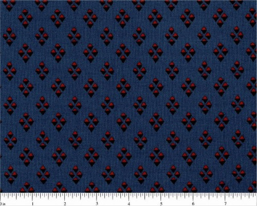 BLACK AND RED DIAMOND DESIGNS ON BLUE FABRIC - R51-5004-0150
