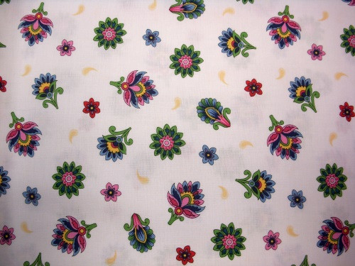 BRIGHT MULTI-COLORED FLOWERS AND PAISLEY DESIGNS FABRIC - 1649-26038-Z