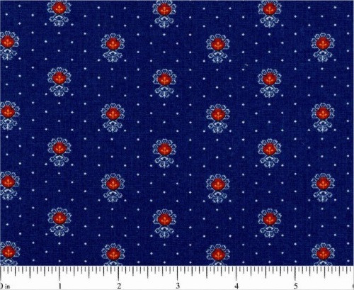 MULTICOLORED EMBLEMS ON BLUE FABRIC WITH WHITE DOTS - 1649-25864-N