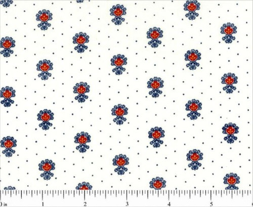MULTI-COLORED EMBLEMS ON CREAM FABRIC WITH BLUE DOTS - 1649-25864-E