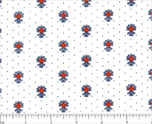 MULTI-COLORED EMBLEMS ON WHITE FABRIC WITH BLUE DOTS - 1649-25864-Z