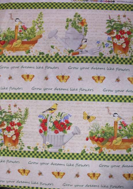 BRIGHT & CHEERY MULTI-COLORED BORDER STRIPE ON WHITE FABRIC - 1406-28115-179