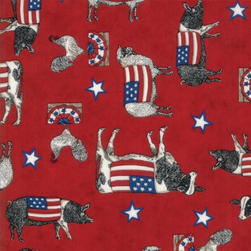 PATRIOTIC COWS, PIGS AND CHICKENS ON PATRIOTIC RED - 19881-13