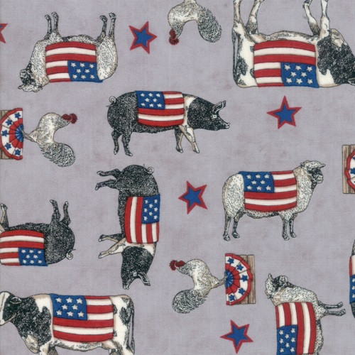 PATRIOTIC COWS, PIGS AND CHICKENS ON WARM GREY - 19881-14