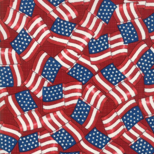TOSSED WAVING FLAGS ON PATRIOTIC RED - 19883-14