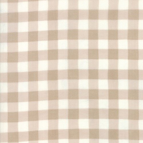 TAN AND BROWN GINGHAM ON BARNWOOD WHITE FABRIC - 19887-11