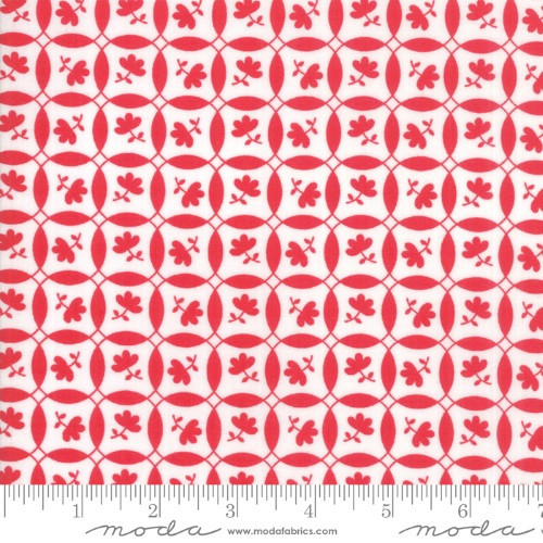 SMALL RED FLOWERS ON A RED & WHITE GEOMETRIC FABRIC - 23316-11 Ruby White