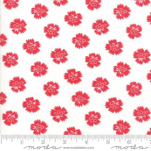 RED FLOWERS ON WHITE FABRIC - 23317-11 Ruby White