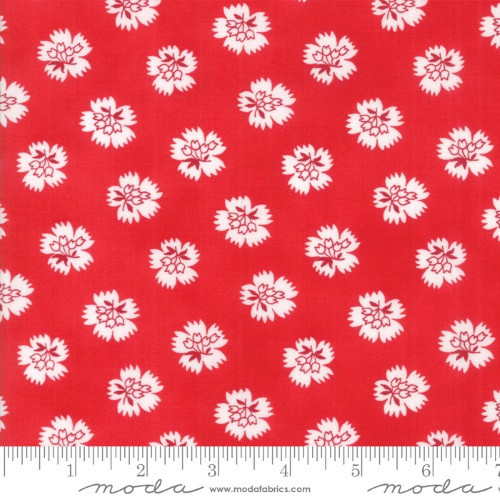 WHITE FLOWERS ON RED FABRIC - 23317-14 Ruby