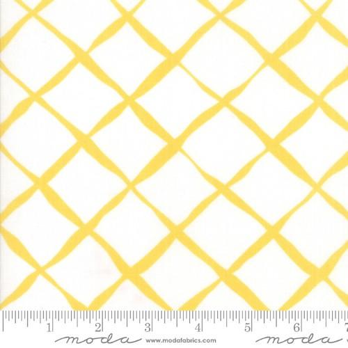YELLOW LINES ON WHITE FABRIC - 23318-11 Sunshine