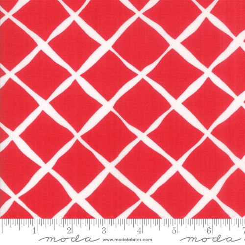 WHITE LINES ON RED FABRIC - 23318-14 Ruby