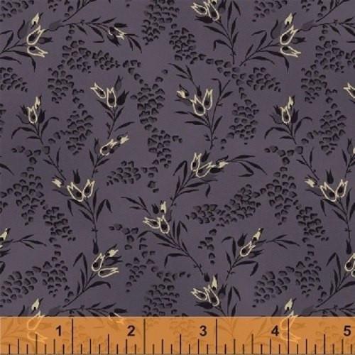 PURPLE, BLACK AND TAN FLORALS ON PURPLE FABRIC - 36238-5 - First Ladies - Windham Fabrics