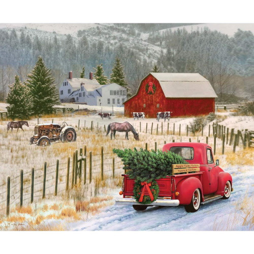 COUNTRY CHRISTMAS PANEL - Pickup Hauling the Tree Home - P8691 Country