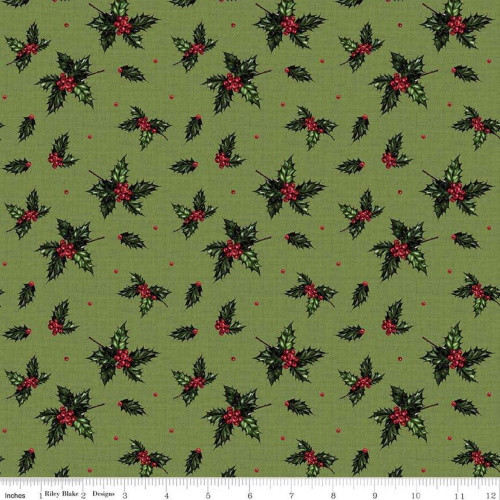 HOLLY ON GREEN FABRIC - C8695 Green