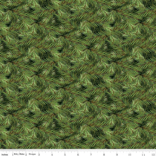 PINE BRANCHES ON DARK GREEN FABRIC - C8697 Dark Green