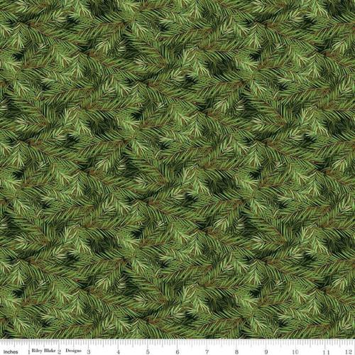 PINE BRANCHES ON DARK GREEN FABRIC - C8697 Dark Green