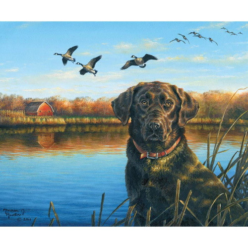 "FAITHFUL - Dog & Geese Near Water Panel (36"" x 44"") - P8725 Faithful"