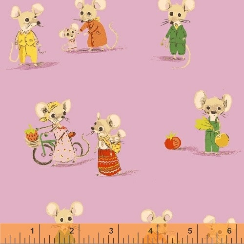 COUNTRY MOUSE AND FRIENDS ON PINK FABRIC - 50897-5 - Trixie