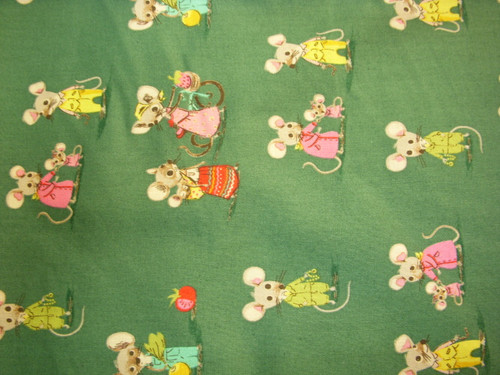 COUNTRY MOUSE AND FRIENDS ON DARK GREEN FABRIC - 50897-3 - Trixie