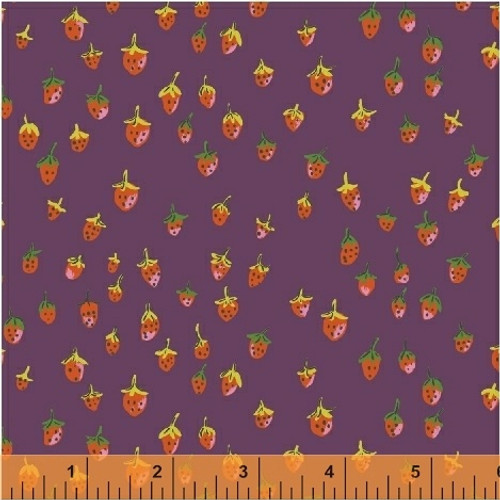 STRAWBERRIES ON PLUM FABRIC - 50899-11 - Trixie