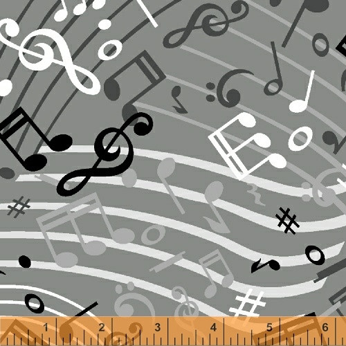 """Tossed Black, White & Gray Music Notes on Gray 108"""" Wide Backing - 51460-2"""