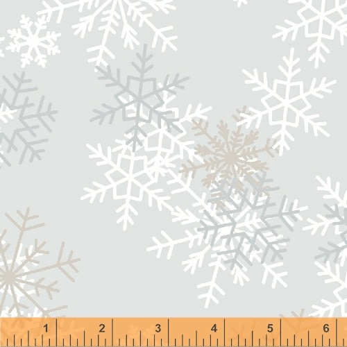 "TOSSED SNOWFLAKES ON LIGHT GRAY 108"" WIDE BACKING - 51461-1"