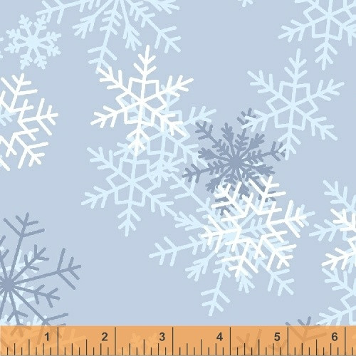 "TOSSED SNOWFLAKES ON LIGHT BLUE 108"" WIDE BACKING - 51461-2"