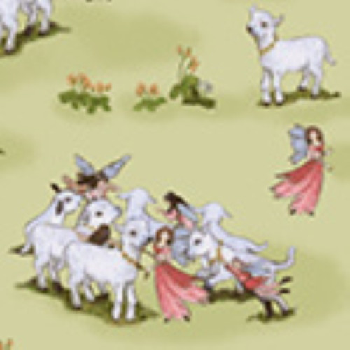 LITTLE BO PEEP MINDING HER SHEEP ON PISTACHIO GREEN FABRIC - 51440-2