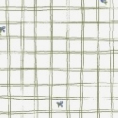 LITTLE BO PEEP GREEN ON WHITE CROSSHATCH FABRIC - 51443-5 White
