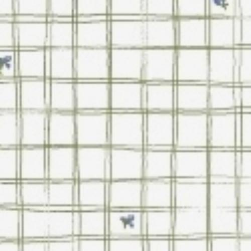 LITTLE BO PEEP GREEN ON WHITE CROSSHATCH FABRIC - 51443-5 White