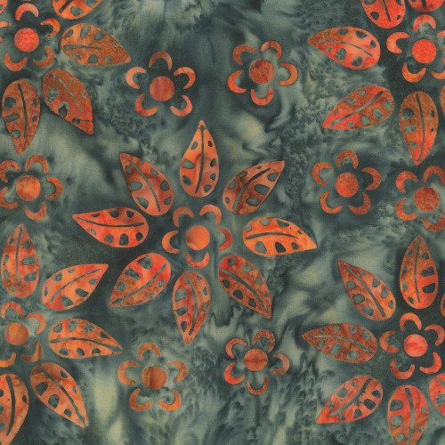 CHARCOAL AND ORANGE FLORAL HAND MADE BATIK FABRIC - 320Q-9 - Flow & Floral
