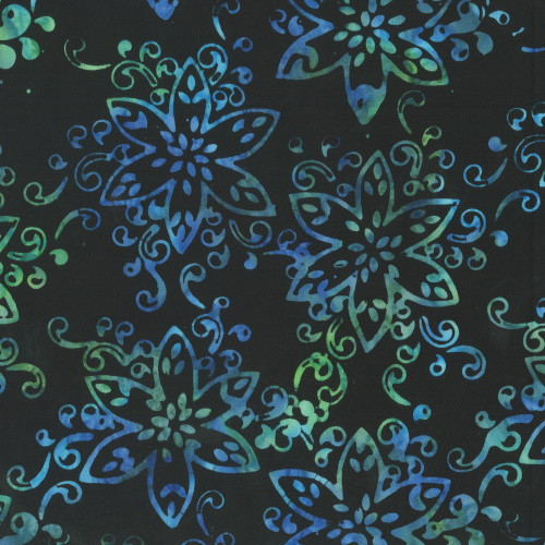 CARRIBEAN BLUE AND GREEN FLORAL ON BLACK HAND MADE BATIK FABRIC - 322Q-4 - Giggles