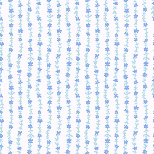 ASSORTED LIGHT BLUE FLORAL STRANDS ON WHITE - 512-001